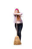 The funny woman with mop isolated on the white background Stock Photo