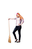 The funny woman with mop isolated on the white background Stock Image
