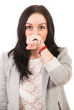 Funny woman with mustache ring Royalty Free Stock Image