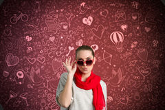 Funny woman over valentine's background Royalty Free Stock Image