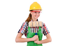 Funny woman painter in construction concept isolated Royalty Free Stock Image