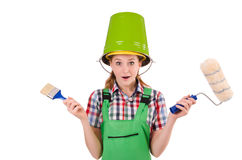 Funny woman painter in construction concept isolated Royalty Free Stock Photography