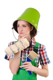 Funny woman painter in construction concept isolated Royalty Free Stock Images