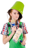 Funny woman painter in construction concept isolated Royalty Free Stock Photo