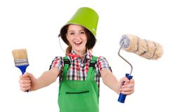 Funny woman painter in construction concept Stock Photos