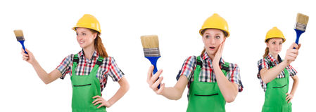 The funny woman painter isolated on white Stock Images