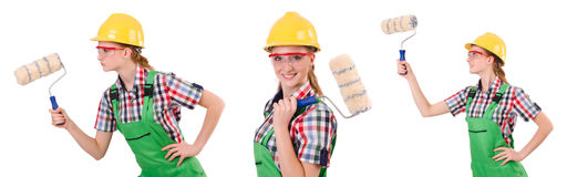 The funny woman painter Stock Photos