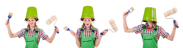The funny woman painter isolated on white Stock Image