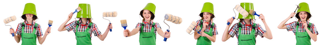 The funny woman painter isolated on white Royalty Free Stock Images