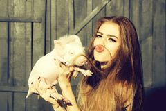 Funny woman with pig. Funny young woman with long hair putting as moustache holding cute small piglet in cloth indoor on wooden background, horizontal picture royalty free stock photo