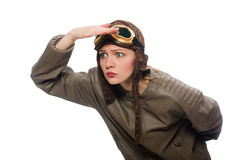 Funny woman pilot isolated on white Royalty Free Stock Photography