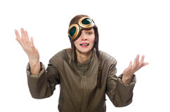 Funny woman pilot isolated on white Stock Photography