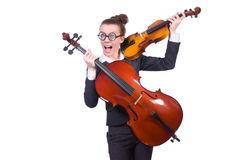 Funny woman playing violin Royalty Free Stock Image