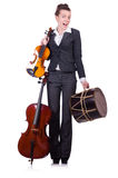 Funny woman playing violin isolated Stock Photos