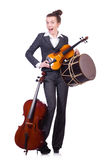 Funny woman playing violin isolated Royalty Free Stock Photos