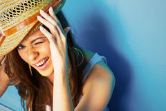 Funny woman portrait on blue Royalty Free Stock Photography