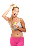 Funny woman posing with apples on white background Royalty Free Stock Photos