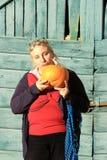 Funny woman pumpkin Stock Photography