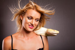 Funny woman python Stock Images