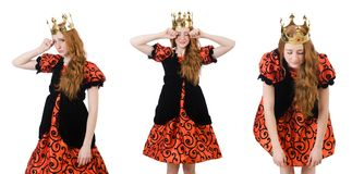The funny woman queen wearing crown on white Stock Photography