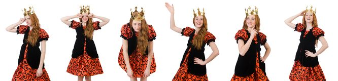 The funny woman queen wearing crown Stock Image
