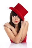Funny woman with red hat Royalty Free Stock Photo