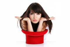 Funny woman with red hat Stock Image