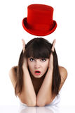 Funny woman with red hat Stock Images