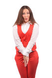 Funny woman in red jacket Stock Images