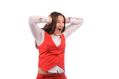 Funny woman in red jacket Royalty Free Stock Photo
