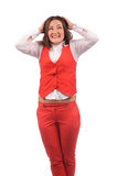 Funny woman in red jacket Royalty Free Stock Photography