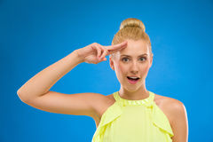 Funny woman saluting. Stock Images
