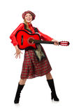 Funny woman in scottish clothing with guitar Royalty Free Stock Photos