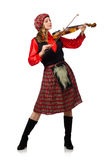 Funny woman in scottish clothing with violin Royalty Free Stock Image