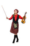 The funny woman in scottish clothing with violin Stock Photos
