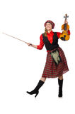The funny woman in scottish clothing with violin Royalty Free Stock Photo