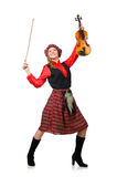 The funny woman in scottish clothing with violin Royalty Free Stock Image