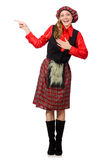 The funny woman in scottish clothing on white Stock Photos