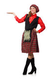 The funny woman in scottish clothing on white Stock Photography