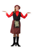 Funny woman in scottish clothing on white Stock Image