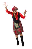 Funny woman in scottish clothing on white Royalty Free Stock Photos