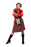 The funny woman in scottish clothing on white Royalty Free Stock Image