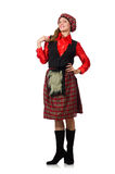 The funny woman in scottish clothing on white Royalty Free Stock Images