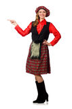 The funny woman in scottish clothing on white Royalty Free Stock Photo