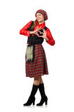Funny woman in scottish clothing on white Stock Images