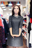 Funny Woman Shopping Wearing Casual Navy Blue Dress Stock Image