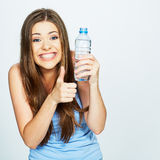 Funny woman show thumb up with water Stock Photo