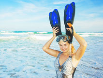 Funny woman with snorkel Stock Images