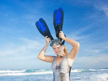 Funny woman with snorkeling equipment Stock Photos