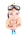 Funny woman in snorkeling gear Royalty Free Stock Images